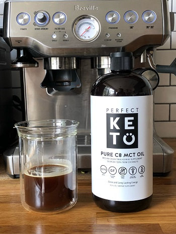 photo of the keto friendly mct oil with my coffee