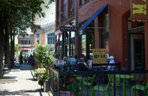 view of the outdoor patio at the flying fig in ohio city downtown cleveland oh