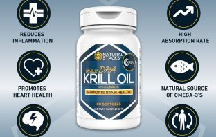 bottle of natural stacks cold presses krill oil supplement