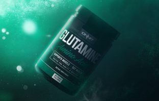 the glutamine amino acid supplement that supports muscle and gut health made by ONNIT labs floating in liquid