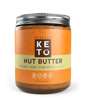 a picture of a jar of perfect keto macadamia nut butter with mct oil